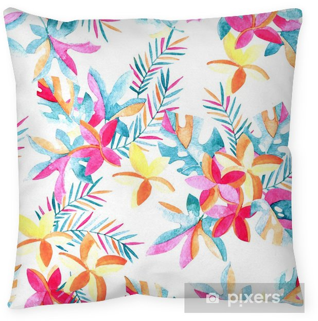 Watercolor exotic flowers and leaves background. Throw Pillow - Plants and Flowers