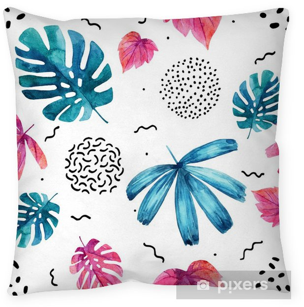 Watercolor exotic leaves background. Throw Pillow - Plants and Flowers