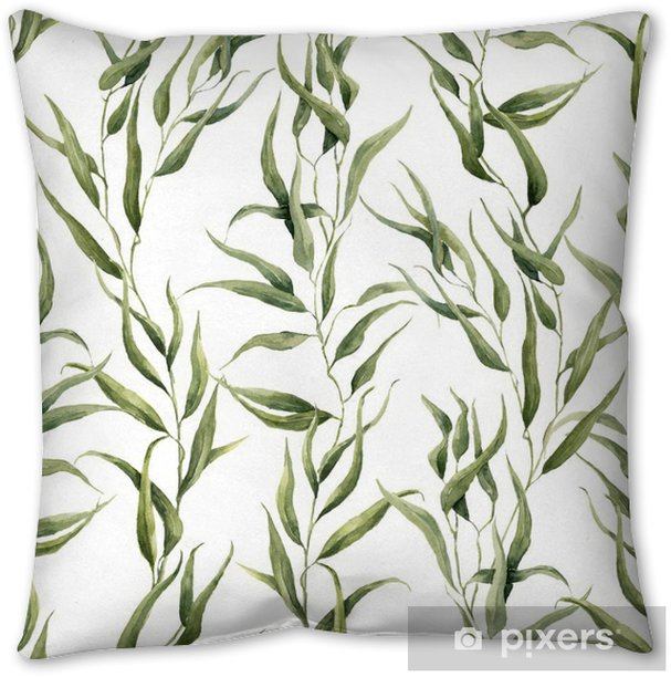 Watercolor green floral seamless pattern with eucalyptus leaves. Hand painted pattern with branches and leaves of eucalyptus isolated on white background. For design or background Throw Pillow - Plants and Flowers