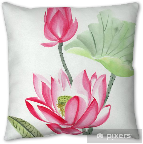 Watercolor Painting Of Pink Lotus Flower Throw Pillow Pixers We Live To Change