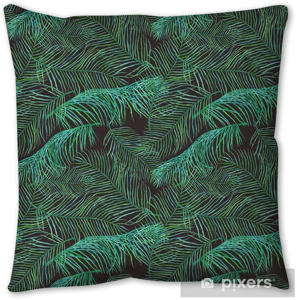 Watercolor palm leaves saemless pattern on dark background. Throw Pillow - Plants and Flowers