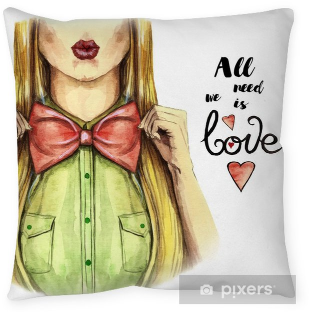Watercolor picture on a Valentine's day, girl kisses, red lips, holds a bow bowl, shirt, valentines, heart on a white background, print, face, fashionable, for a postcard Throw Pillow - People
