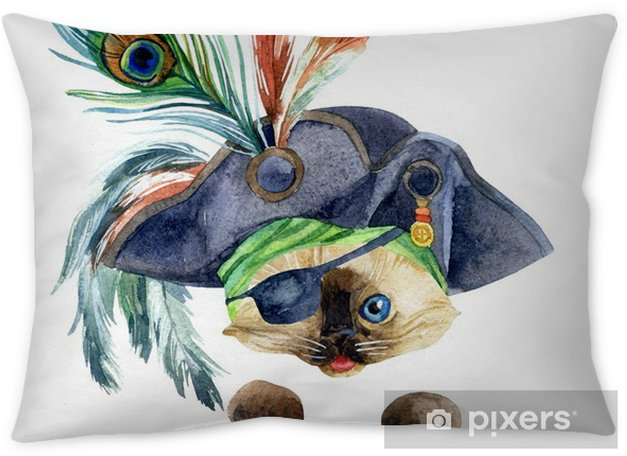 Watercolor pirate head Throw Pillow - Animals