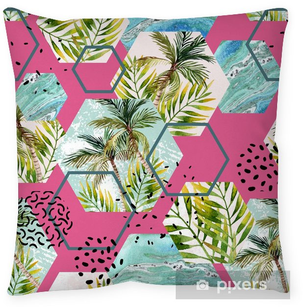 Watercolor tropical leaves and palm trees in geometric shapes seamless pattern Throw Pillow - Graphic Resources