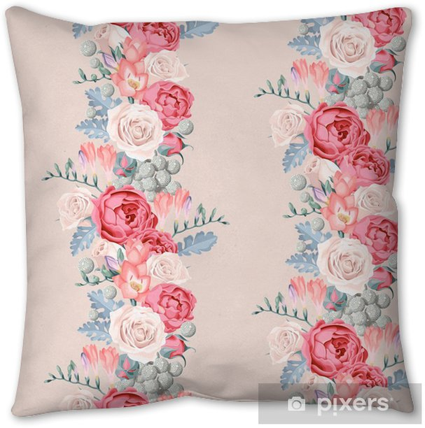 Wedding flowers seamless Throw Pillow - Plants and Flowers