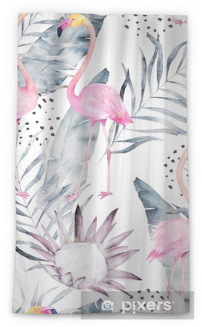 Transparant gordijn Abstract tropisch patroon met flamingo, protea, bladeren. aquarel naadloze print. minimalisme illustratie - Grafische Bronnen