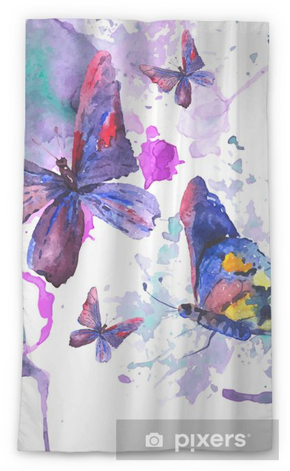 Transparant gordijn Abstracte aquarel achtergrond met vlinders - Thema's