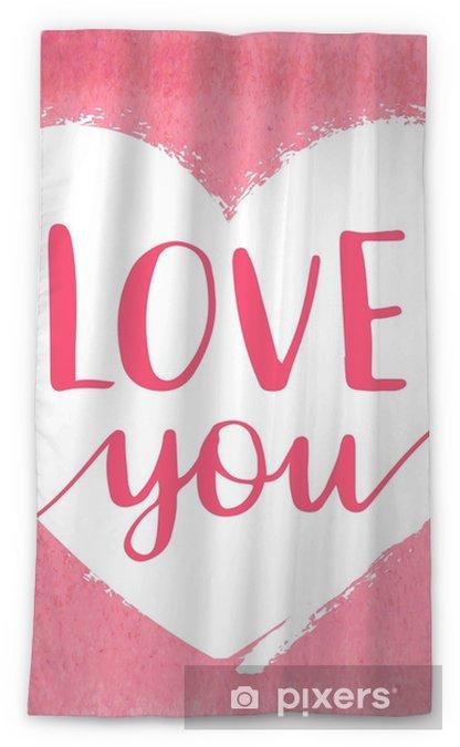 Transparant gordijn Hand getekend aquarel hart met kalligrafie tekst hou van je voor Valentijnsdag, huwelijk, dating en andere en andere romantische evenementen. - Hobby's en Vrije tijd