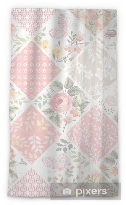 Transparant gordijn Naadloze patchwork patroon met rozen en vlinders in pastel kleuren - Grafische Bronnen