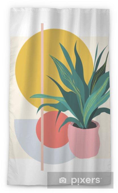 Transparant gordijn Plant illustratie. potplanten plant vector. botanische kunstdruk. geometrische achtergrond. - Bloemen en Planten