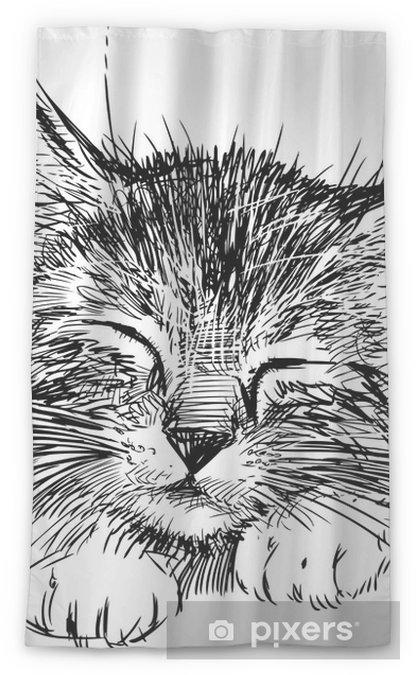 Transparant gordijn Slapende kat - Muursticker