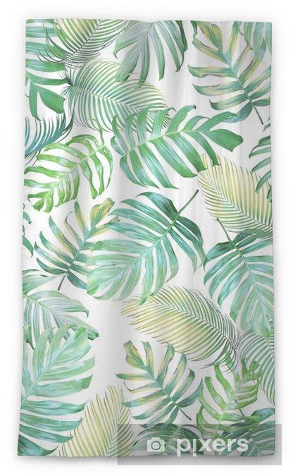 Transparant gordijn Tropische bladeren naadloze patroon van monstera philodendron en palm bladeren in licht groen-gele kleurtoon, tropische achtergrond. - Grafische Bronnen
