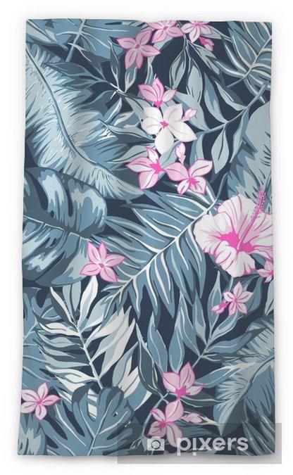Transparant gordijn Vector naadloze heldere kleurrijke tropische patroon met bloemen, split leaf, philodendron, regenwoud natuur, zomervakantie, actieve tropen achtergrond print - Bloemen en Planten