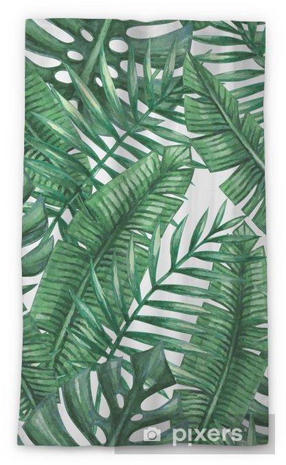 Transparant gordijn Waterverf het tropische palm verlaat naadloos patroon. Vector illustratie. - Grafische Bronnen