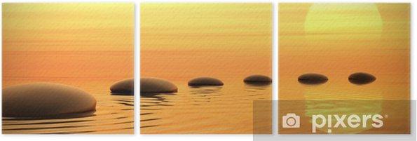 Tríptico Camino zen de piedras en la puesta del sol en pantalla panorámica - Estilos