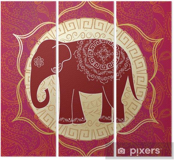 Tríptico Elefante indio con mandalas - Estilos