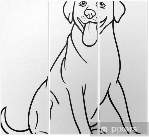 Tríptico Labrador Retriever Perro De Dibujos Animados Para Colorear