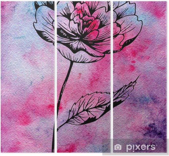 Tríptico Mano dibujada tinta negra flor peonía en la línea estilo del arte en el fondo de acuarela con textura en colores rosa, púrpura, violeta. - Plantas y flores
