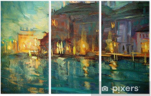 Tríptico Paisaje nocturno a Venecia, pintura de óleo sobre madera contrachapada, illustrat - Naturaleza