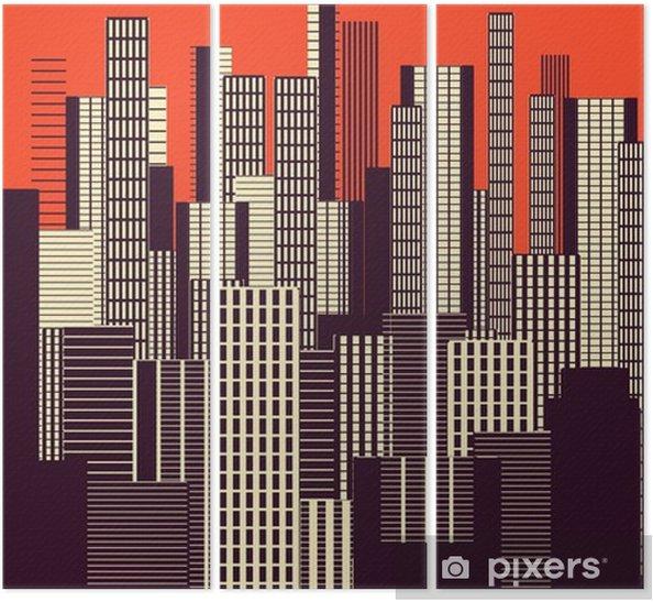 Tríptico Um cartaz três cores gráfica abstrata a paisagem urbana em laranja e marrom - Paisagens