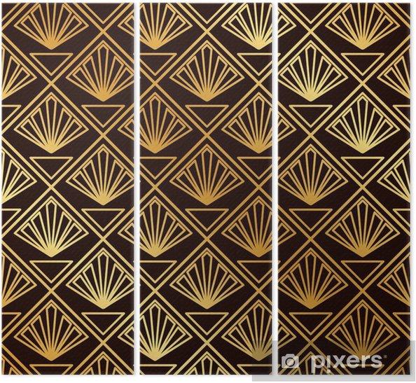 Tríptico Vintage sin costura art deco patrón. plantilla para diseño. ilustración vectorial - Recursos gráficos