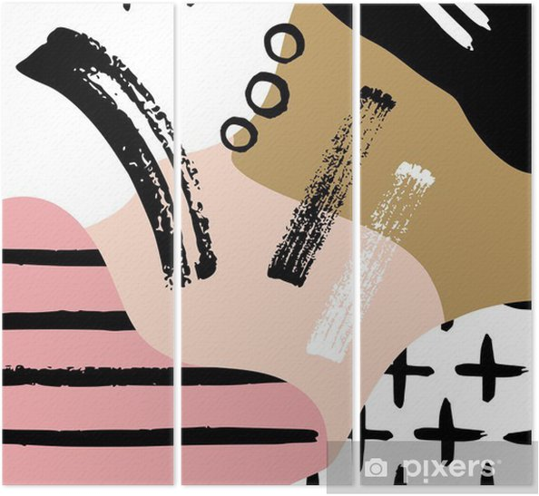 Abstract scandinavian composition in black, white and pastel pink. Triptych - Graphic Resources