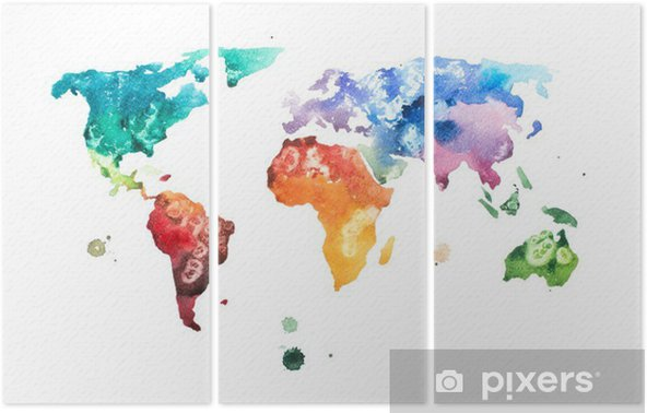 Hand drawn watercolor world map aquarelle illustration. Triptych - Hobbies and Leisure