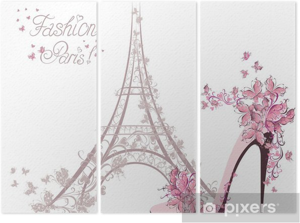 High-heeled shoes on background of Eiffel Tower. Paris Fashion Triptych - Fashion