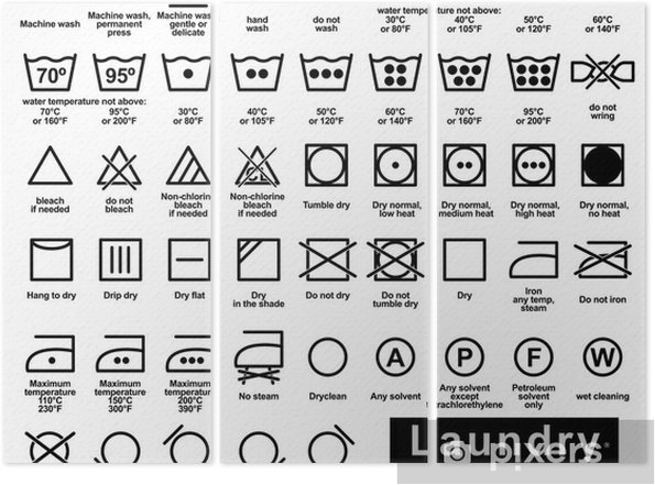 Icon set of laundry symbols Triptych - Signs and Symbols