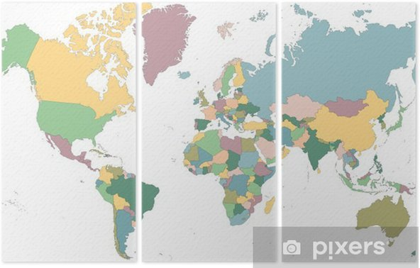 Map of the World Triptych - Business