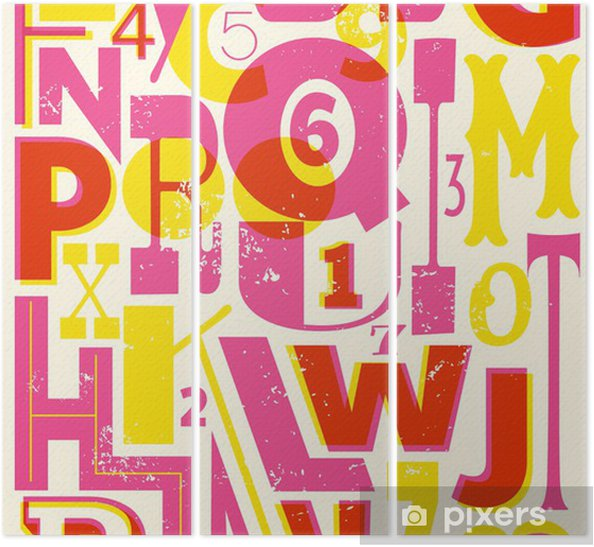 Retro Letters and Numbers Triptych - Themes