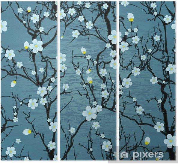 Seamless tree pattern. Japanese cherry blossom Triptych - Styles