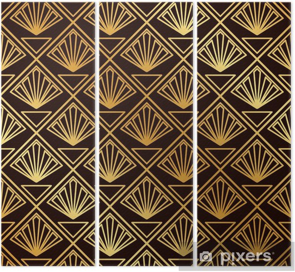 Vintage seamless art deco pattern. Template for design. Vector illustration Triptych - Graphic Resources