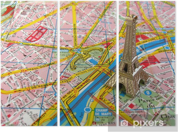 Karte Paris Eiffelturm.Triptychon Eiffelturm Auf Paris Karte