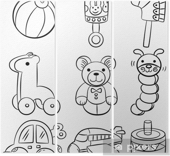 Triptychon Hand Zeichnen Cartoon Baby Spielzeug Symbol Pixers