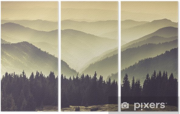 Triptychon Neblige Berghänge - Landschaften