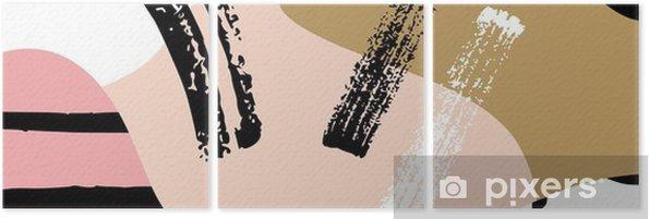 Triptych Abstrakt skandinávský složení v černé, bílé a pastelově růžová. - Grafika