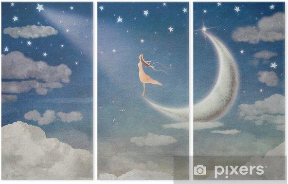 Triptych Dívka na měsíc obdivuje noční oblohu - ilustrace umění - Duševní stavy