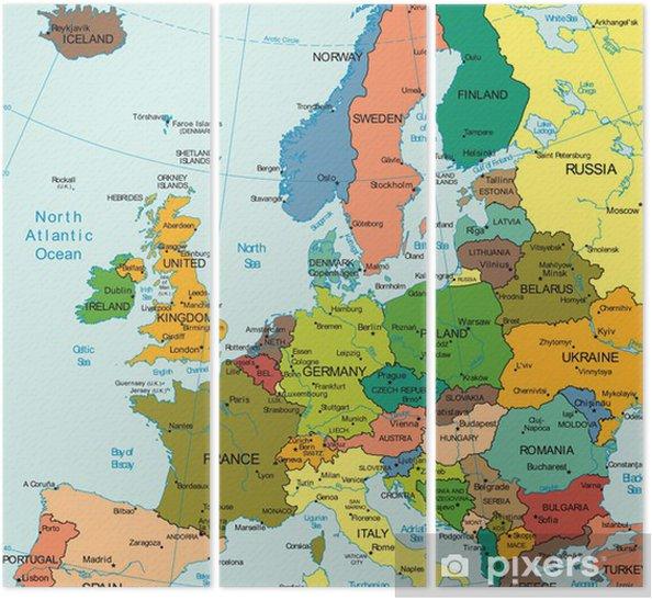 Verdens Jord Europa Kontinent Land Kort Triptykon Pixers Vi