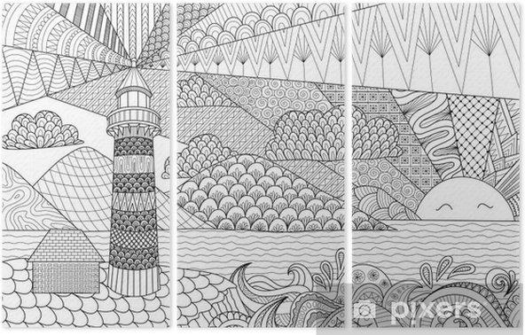 Coloriage Adulte Batiments.Triptyque Ligne Seascape Conception D Art Pour Le Livre De Coloriage