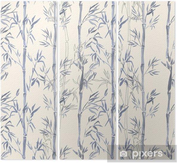 Triptyque Modèle Sans Couture Aquarelle Dessinés à La Main Avec Dessin De Plante De Bambou Fond Répété Avec Du Bambou