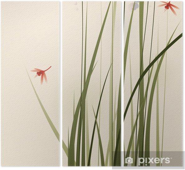 Triptyque Orientales De Style De Peinture De Hautes Herbes Et De