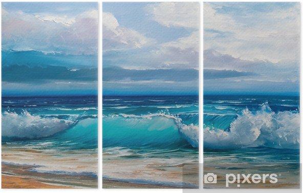 Triptyque Peinture à l'huile de la mer sur toile. - Passe-temps et loisirs