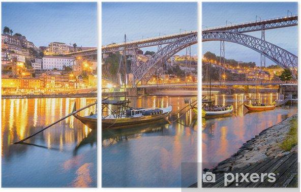 Triptyque Porto, Portugal Ville Skyline sur le fleuve Douro - Thèmes