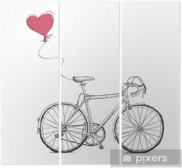 Triptyque Vintage Valentines Illustration avec vélos et coeur Baloon - Ressources graphiques
