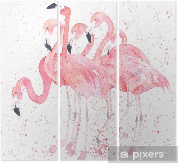 Trittico Fenicotteri acquerello con splash. immagine di pittura - Animali