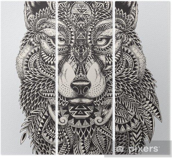Tryptyk Bardzo szczegółowe streszczenie ilustracji wilka - Style