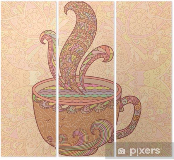 Tryptyk Beżowa dekoracyjna filiżanka herbaty. - Napoje