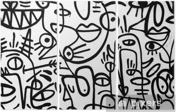 Tryptyk Czarno-białe graffiti wzór na wall.spain, jerez, styczeń 2018. ciekawe tła - Zasoby graficzne