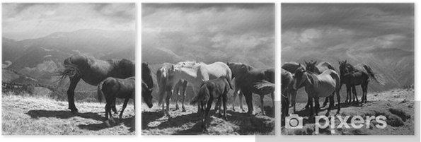 Tryptyk Konie na szczycie góry - Zwierzęta